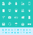 Beach color icons on green background vector