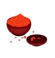 Red caviar salmon roe on donburi bowl vector