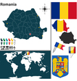 Romania map world vector