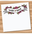 Card with doodle floral ribbon on wooden desk vector