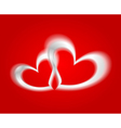 White hearts on the red backdrop vector