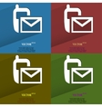 Color set sms flat modern web button with long vector