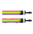 Brush with rainbow line vector