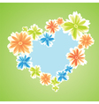 Colored flowers as heart symbol on green backgroun vector