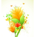 Ink with orange flowers vector