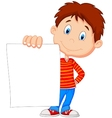 Cartoon boy holding blank paper vector
