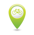 Bicycle icon on map pointer green vector