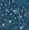 Winter seamless texture with snowflakes vector