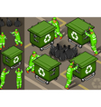 Isometric set of garbage man in six position vector