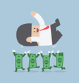 Successful businessman being throwing up by dollar vector