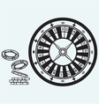 Gambling roulette and chips vector