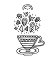 Doodle cup with ornaments vector