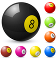 Billiard balls out of american billiards vector