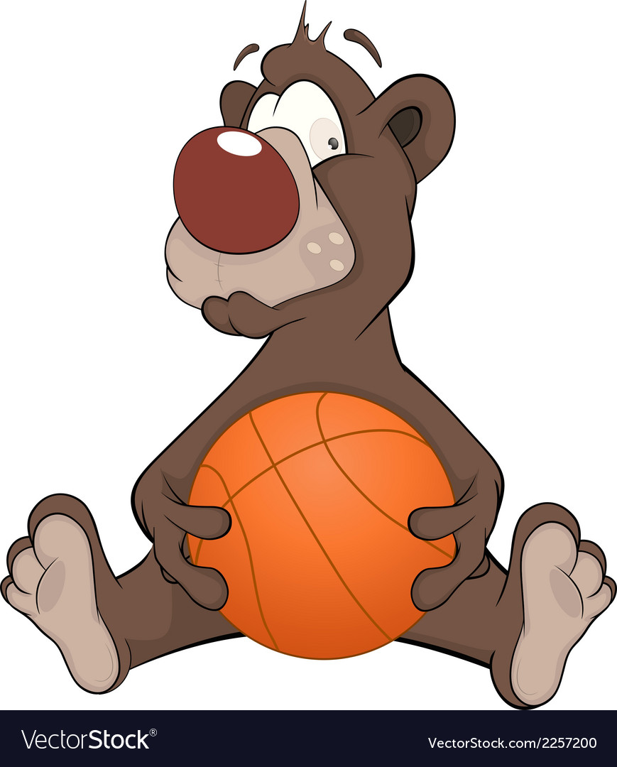 Bear with a ball cartoon vector | Price: 1 Credit (USD $1)