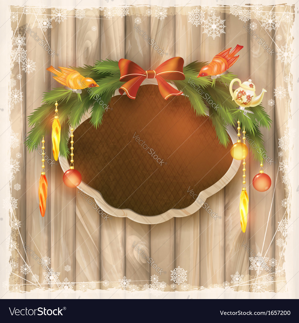 Christmas frame board garland ornaments birds vector | Price: 3 Credit (USD $3)