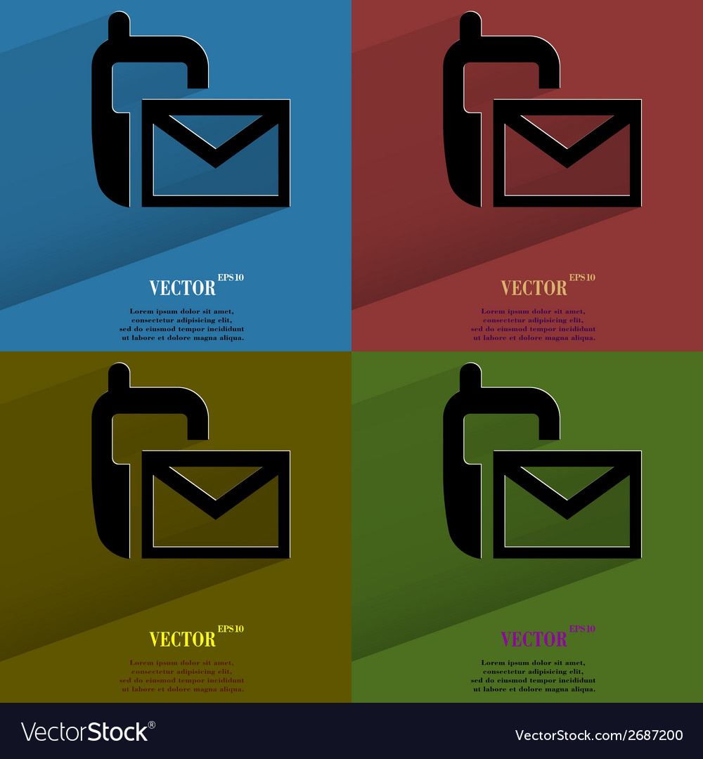 Color set sms flat modern web button with long vector | Price: 1 Credit (USD $1)
