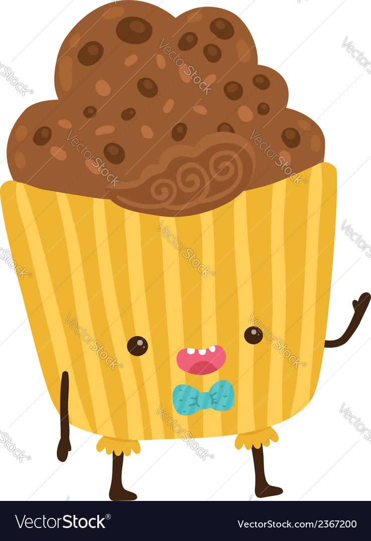 Cute cartoon cupcake character vector | Price: 1 Credit (USD $1)