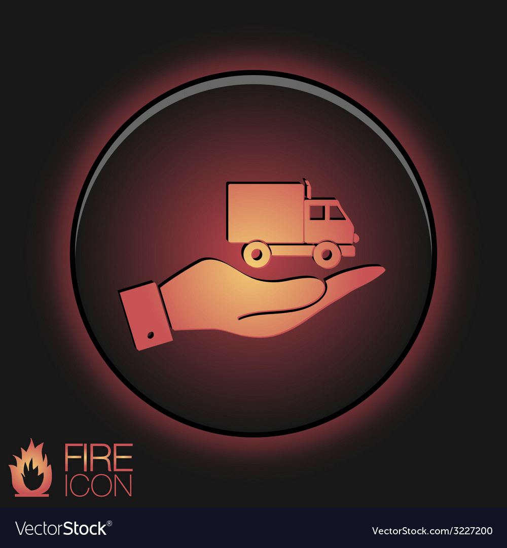 Hand holding a truck logistic icon symbol icon vector | Price: 1 Credit (USD $1)