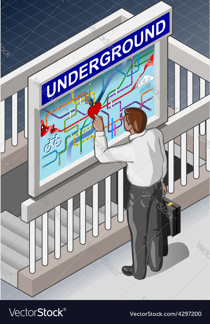 Isometric underground map - man who is searching vector | Price: 3 Credit (USD $3)