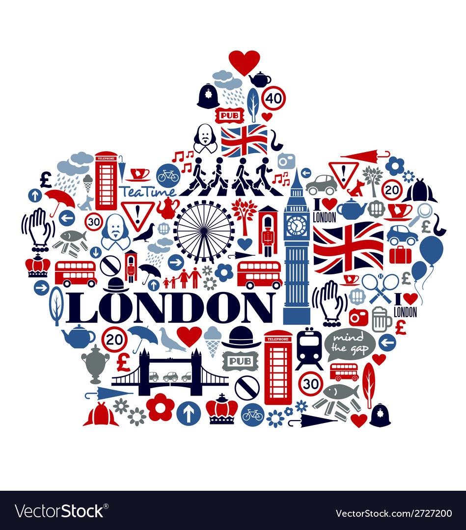 London great britain united kingdom flat icons vector | Price: 1 Credit (USD $1)