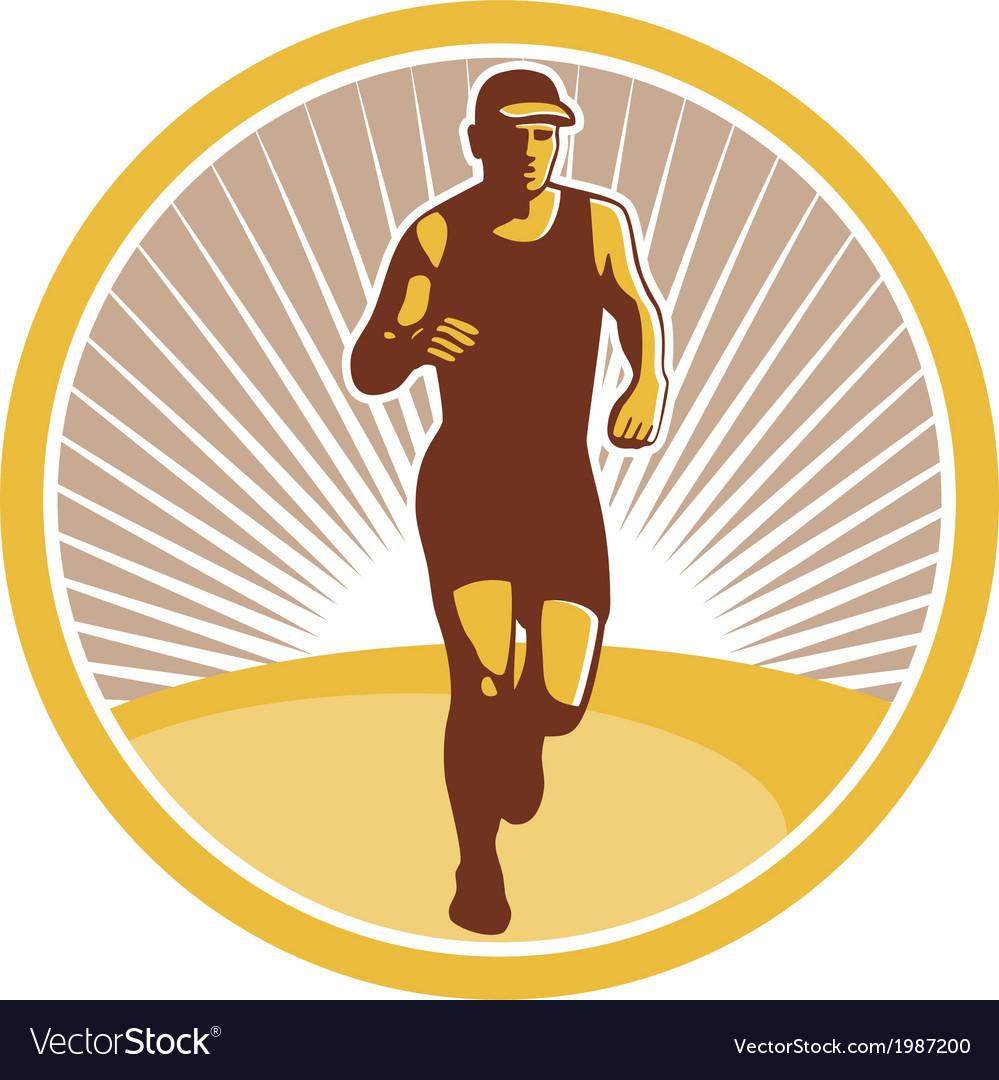 Marathon runner running front circle retro vector | Price: 1 Credit (USD $1)