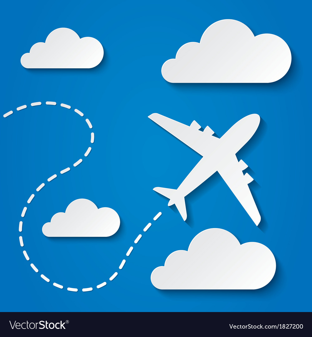 Paper flying plane in clouds travel background vector | Price: 1 Credit (USD $1)
