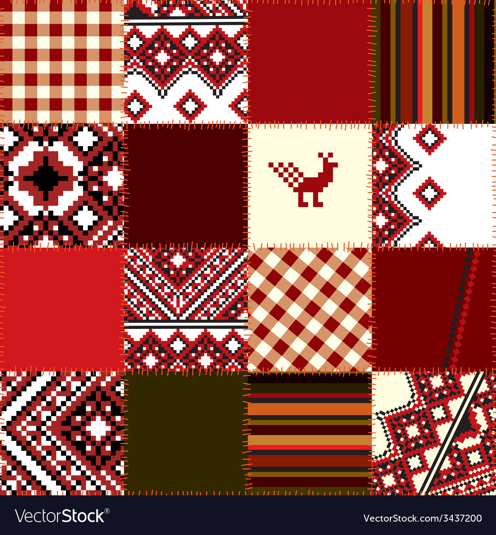 Patchwork of ethnic embroidery vector | Price: 1 Credit (USD $1)