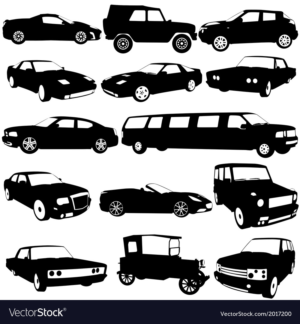 Set black silhouettes of different types of the vector | Price: 1 Credit (USD $1)