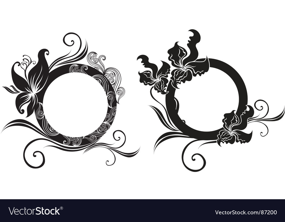 Set of floral vintage frame vector | Price: 1 Credit (USD $1)