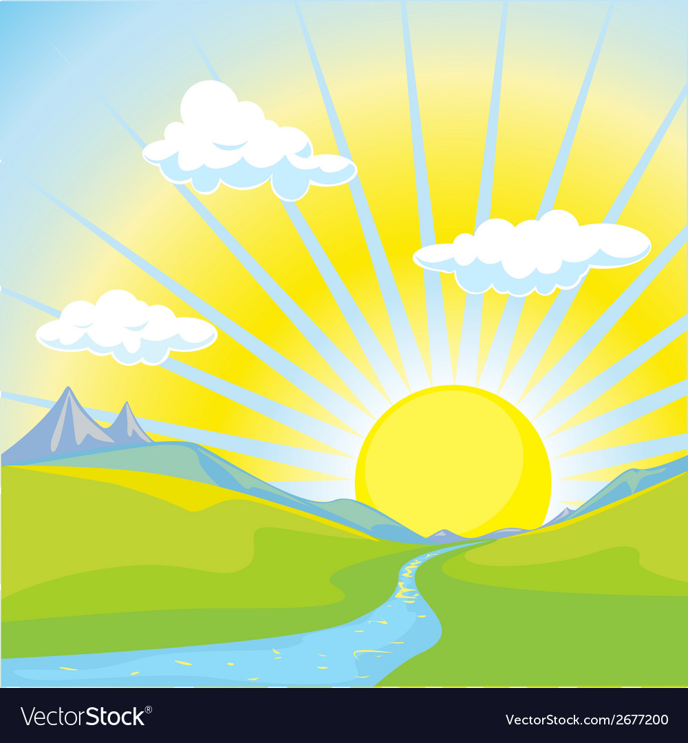 Sunny landscape background vector | Price: 1 Credit (USD $1)