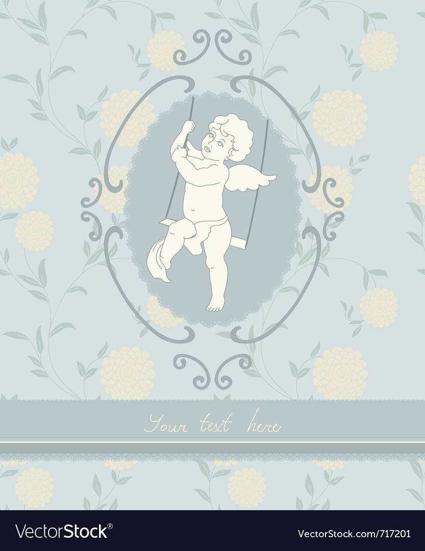 Background with angel in vintage style vector | Price: 1 Credit (USD $1)
