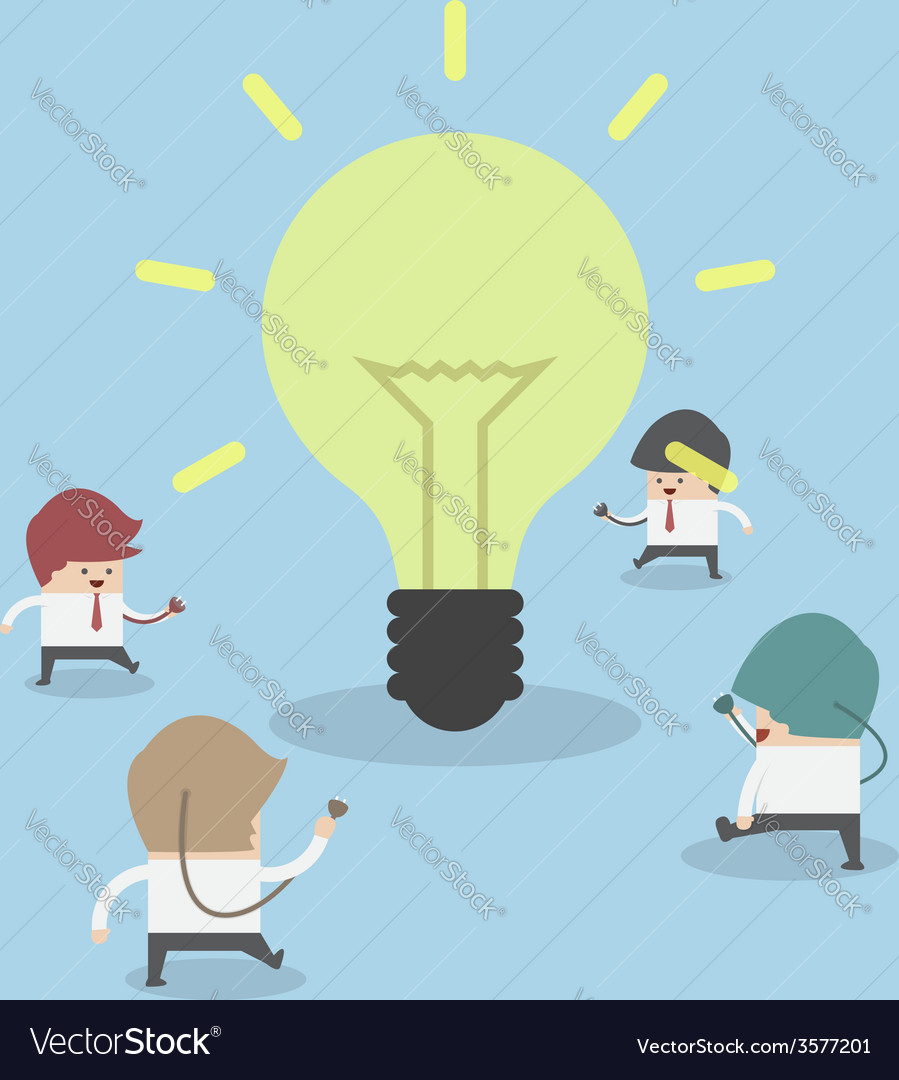 Businessman walking to light bulb to get idea ide vector | Price: 1 Credit (USD $1)