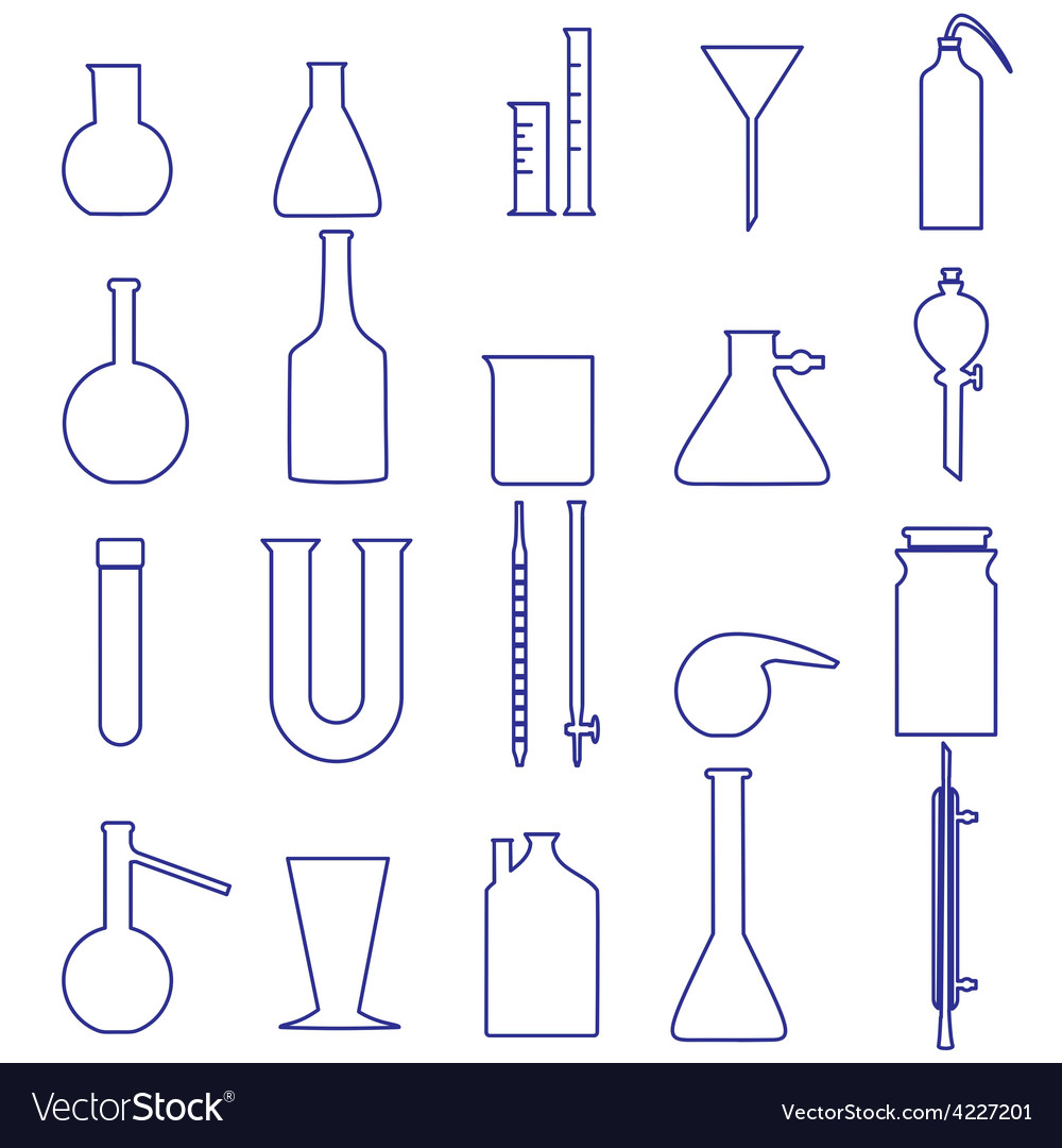 Chemistry laboratory glassware simple outline vector | Price: 1 Credit (USD $1)