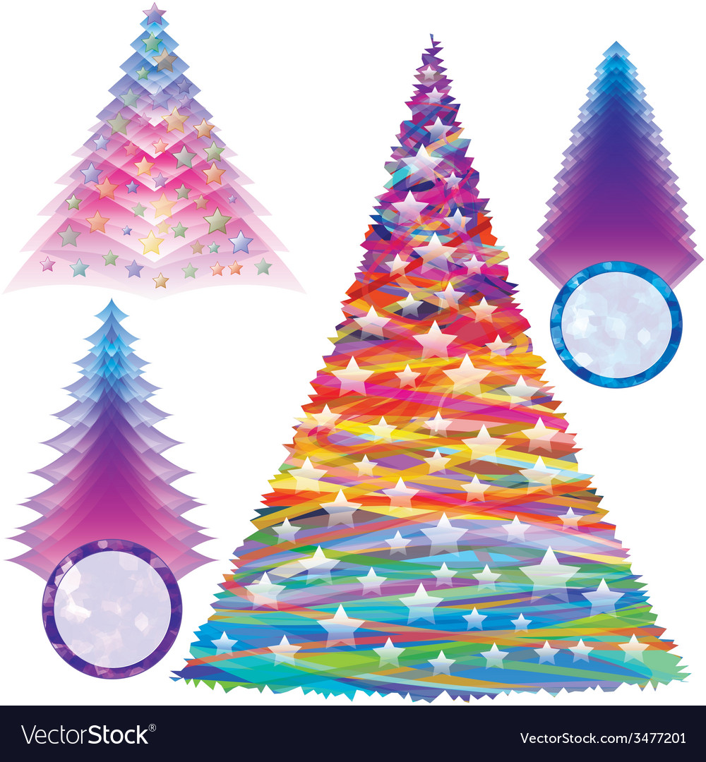 Christmas fir tree set color new year abstract vector | Price: 1 Credit (USD $1)