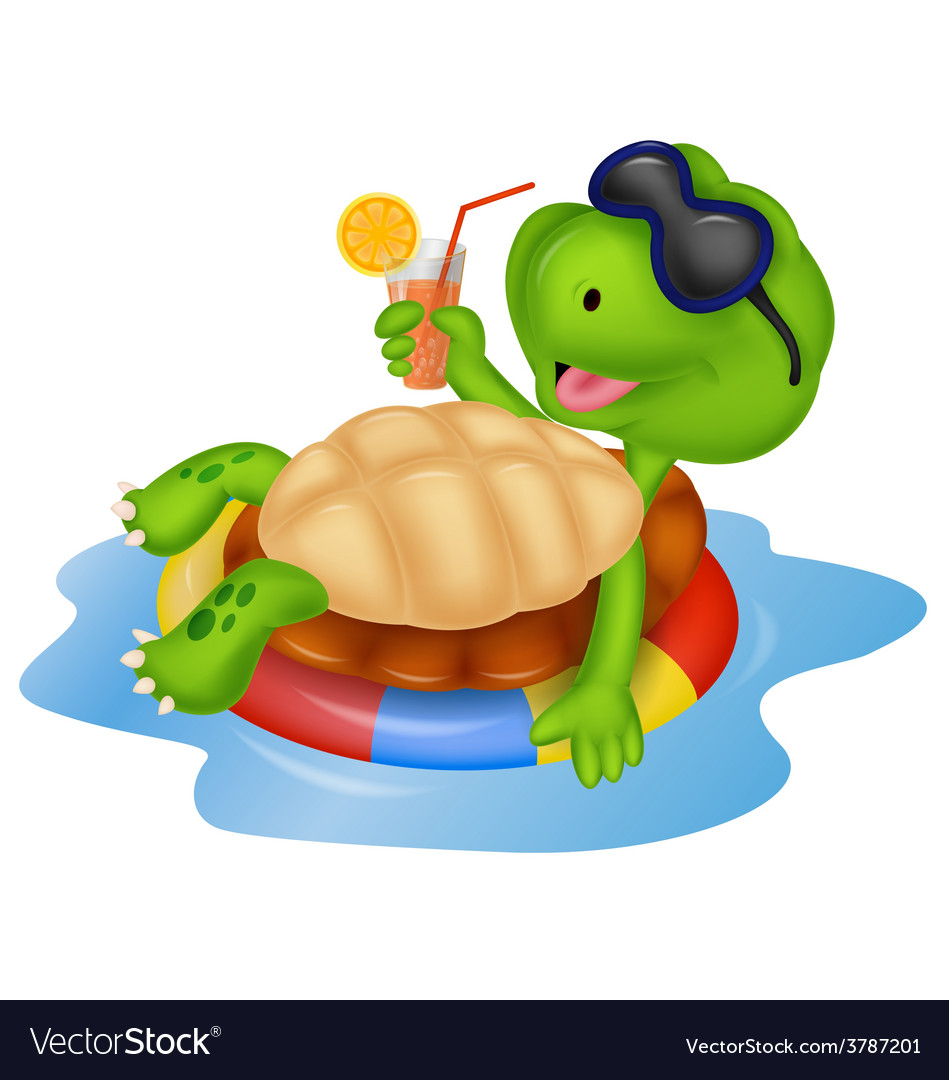 Cute turtle cartoon on inflatable round vector | Price: 1 Credit (USD $1)