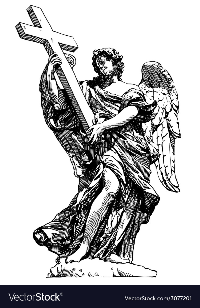 Digital drawing marble statue of angel from the vector | Price: 1 Credit (USD $1)