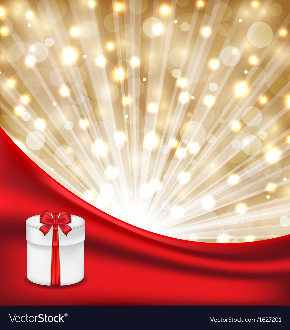 Gift box with red bow on glowing background vector | Price: 1 Credit (USD $1)