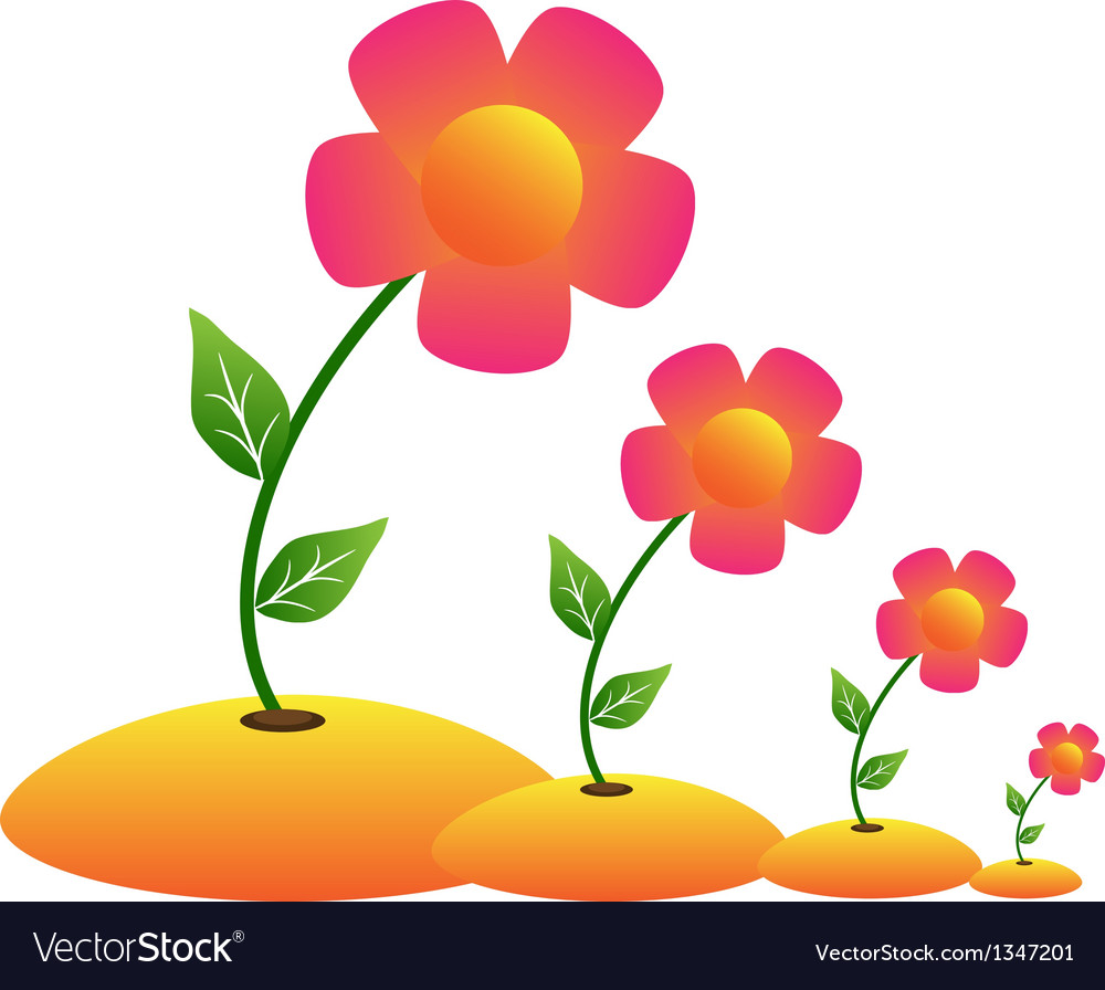 Grow flower vector | Price: 1 Credit (USD $1)