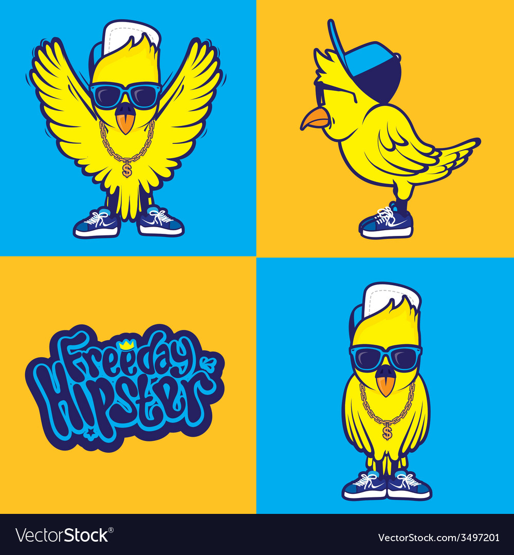 Hipster bird vector | Price: 1 Credit (USD $1)
