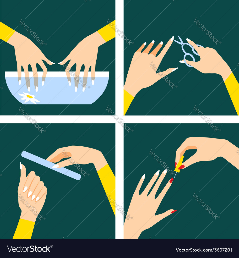 Icons set in flat design style with woman hands vector | Price: 1 Credit (USD $1)
