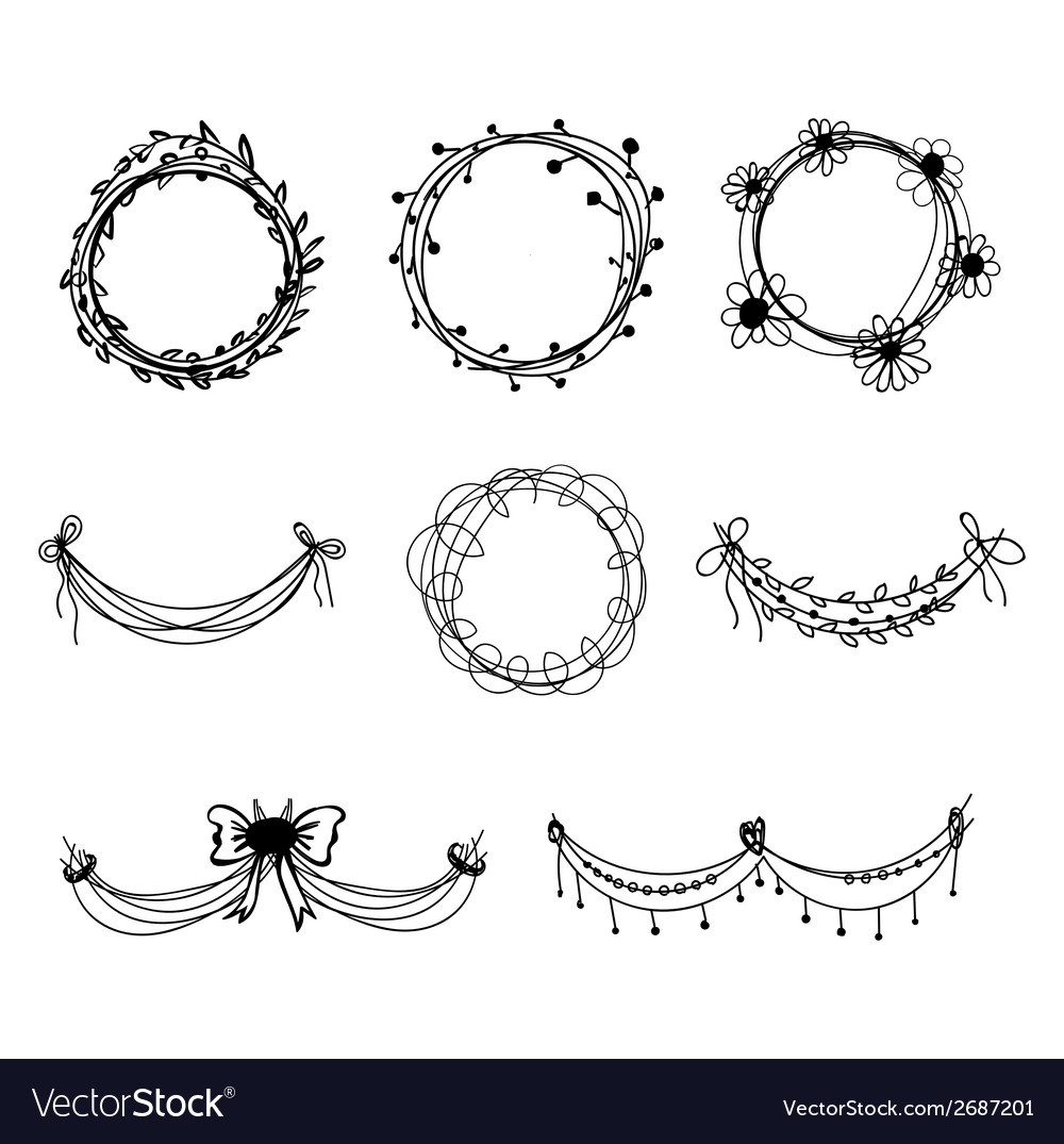 Set of black hand-drawn floral design elements vector | Price: 1 Credit (USD $1)