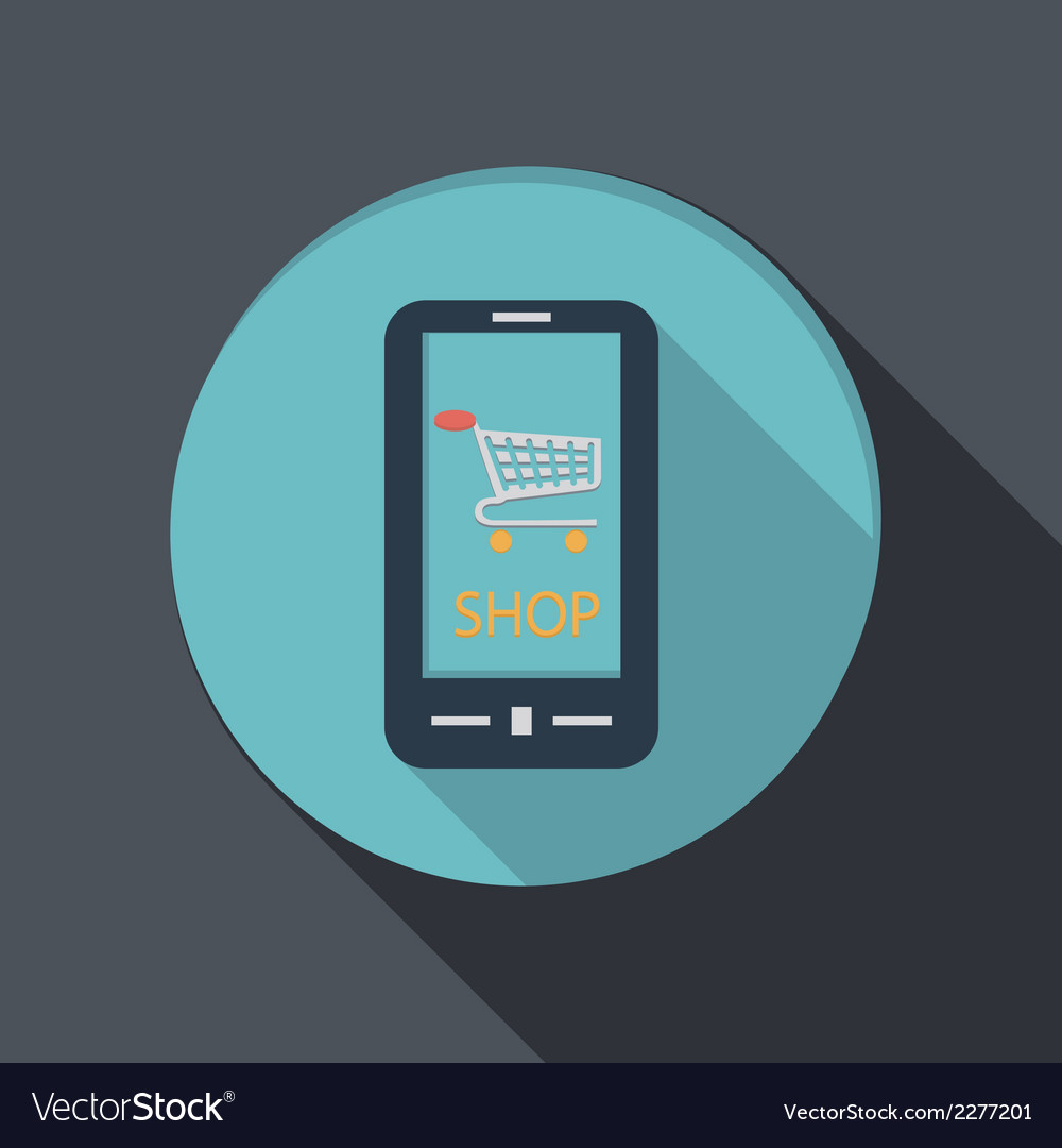 Smartphone with the symbol cart online store vector | Price: 1 Credit (USD $1)