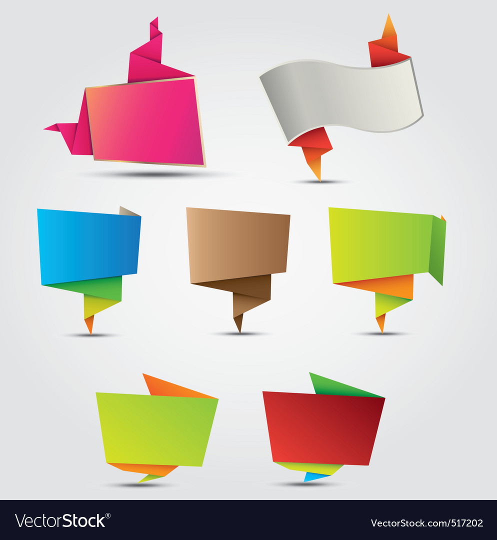 Abstract origami labels vector | Price: 1 Credit (USD $1)