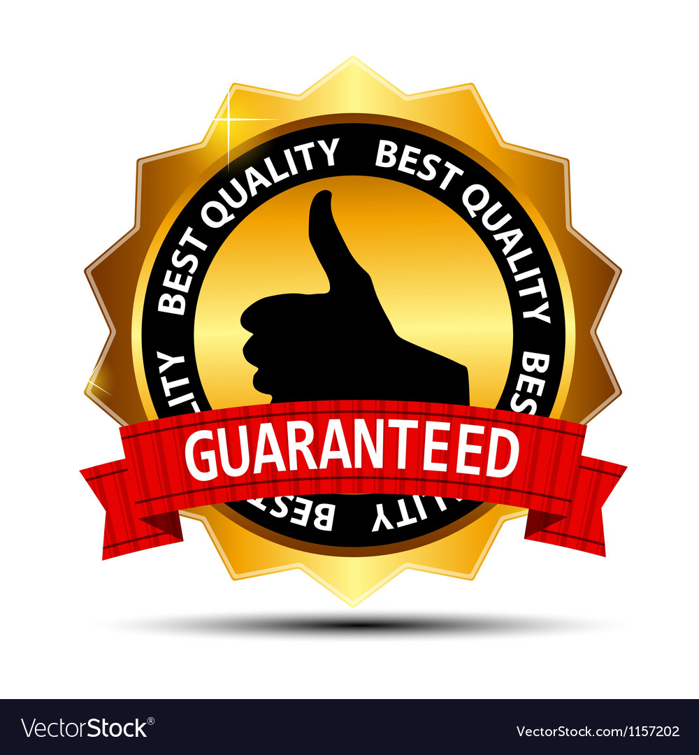 Best quality guaranteed gold label with red ribbon vector | Price: 1 Credit (USD $1)
