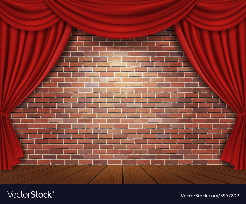Brick wall and red curtains background vector | Price: 3 Credit (USD $3)