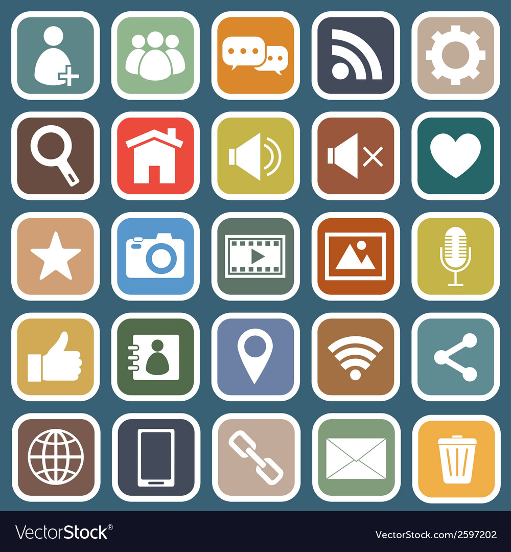 Chat flat icons on blue background vector | Price: 1 Credit (USD $1)