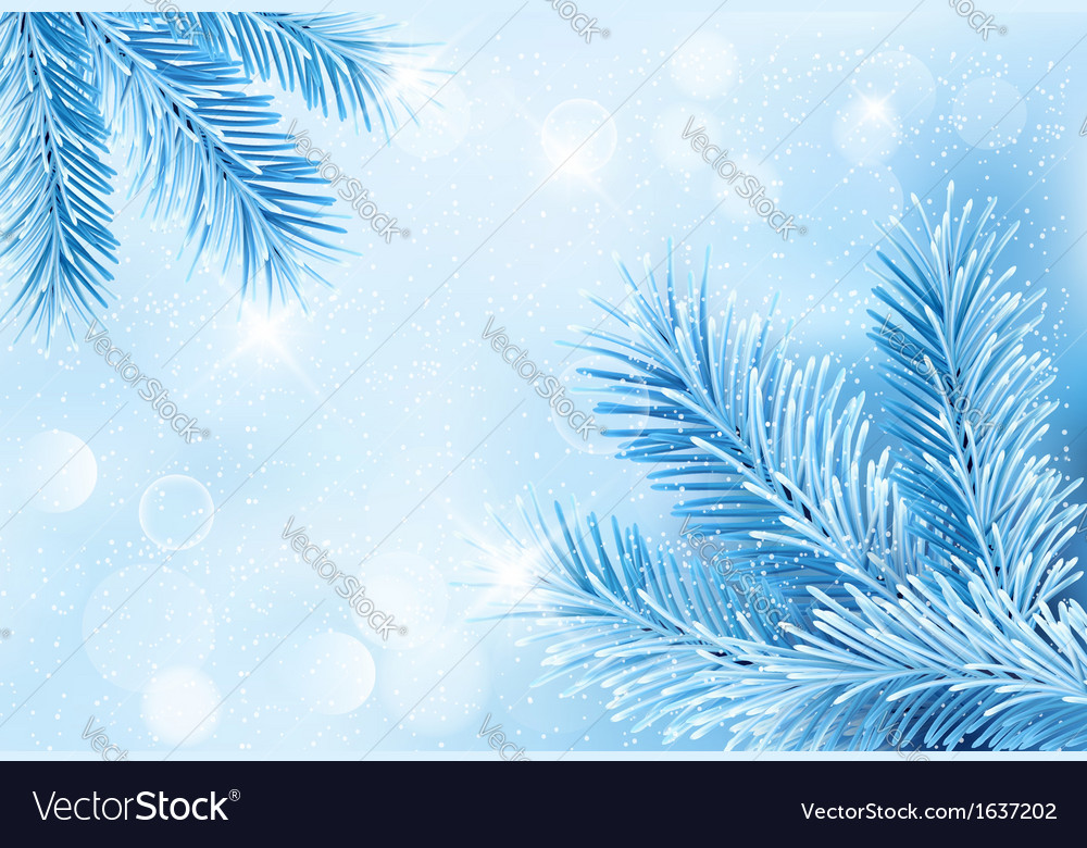 Christmas blue background with christmas tree vector | Price: 1 Credit (USD $1)