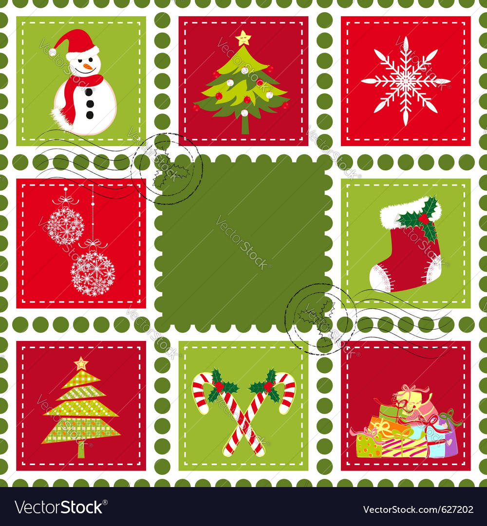 Colorful christmas stamps vector | Price: 1 Credit (USD $1)