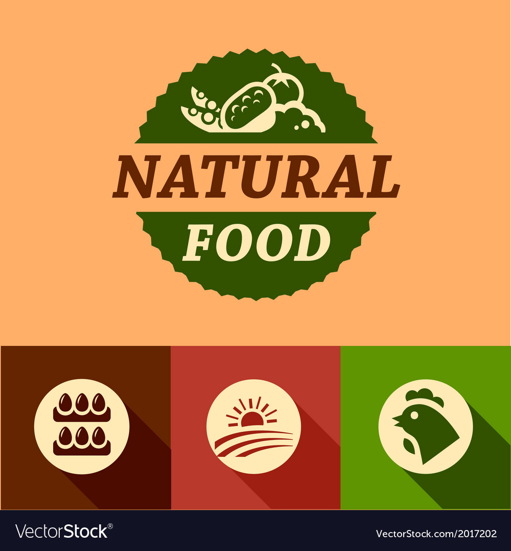 Flat natural food emblems vector | Price: 1 Credit (USD $1)