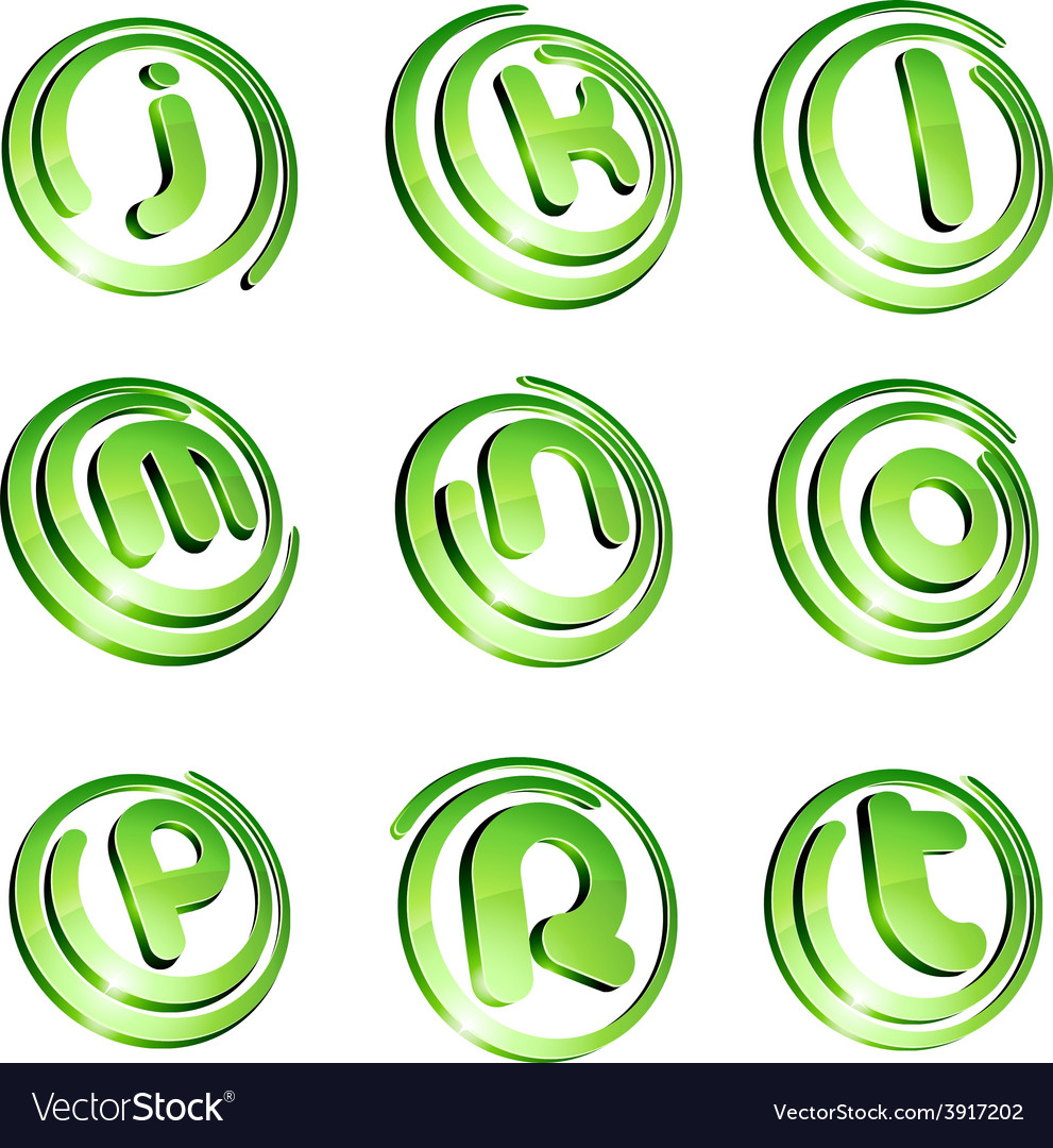 Green vibrant logo set vector | Price: 1 Credit (USD $1)